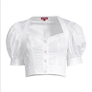 Staud 'Rene' Puff Sleeve Cotton Blouse